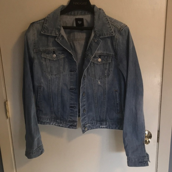 GAP Jackets & Blazers - Gap distressed denim jacket SZ L
